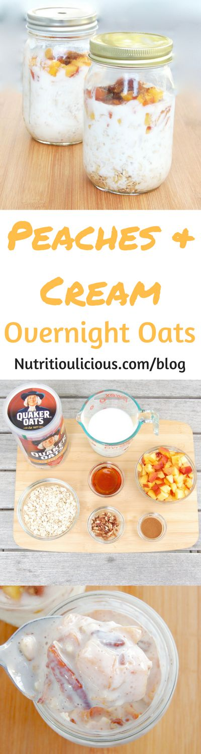 Peaches & Cream Overnight Oats | Maple-roasted peaches top creamy kefir-soaked overnight oats in this easy make-ahead breakfast perfect for rushed mornings and back-to-school. Recipe @jlevinsonrd. (AD)
