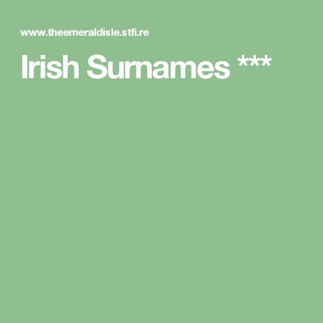 Irish Surnames ***