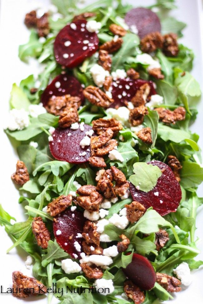 Arugula Beet Salad with Candied Pecans & Gorgonzola Cheese | Lauren Kelly Nutrition---- I did mine with Beets, arugula, mozzarella, and tomatoes and Balsalmic Vinegarette. So good!