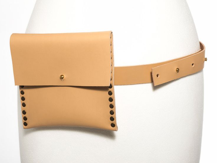 Belt Bag in Nude Leather - Studded Belt Bag - Hip Bag - Utility Bag by EleannaKatsira on Etsy