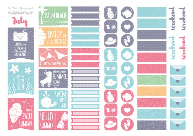 Free Printable Summer Edition Planner Stickers from The Dear You Project