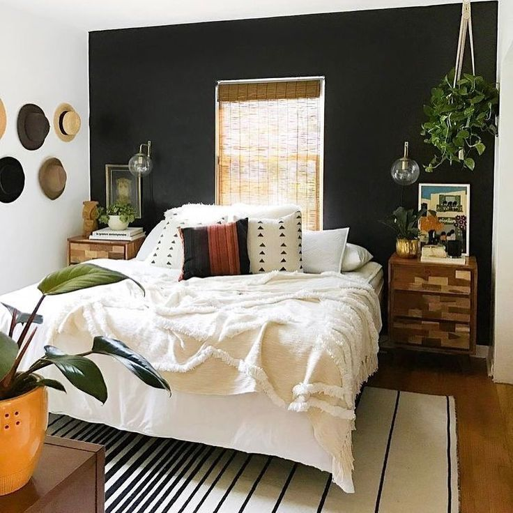 1 Dark Wall Simple Bedroom Decor Simple Bedroom Bedroom Wall