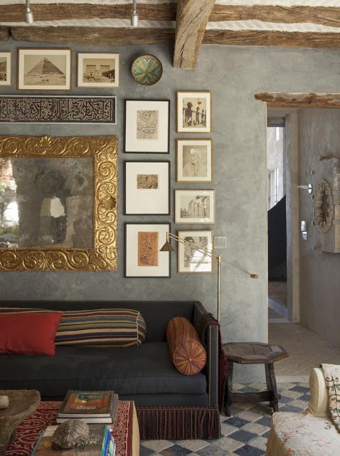 Love the rustic with the glam mirror. Designer Richard Shapiro's home, north