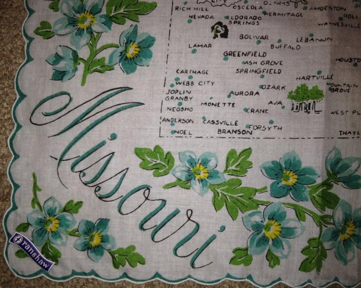 Missouri state map + teal hawthorn flowers [handkerchief / scarf]