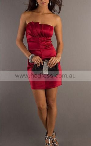 Sheath Strapless Short Satin Natural Formal Dresses gt2173--Hodress