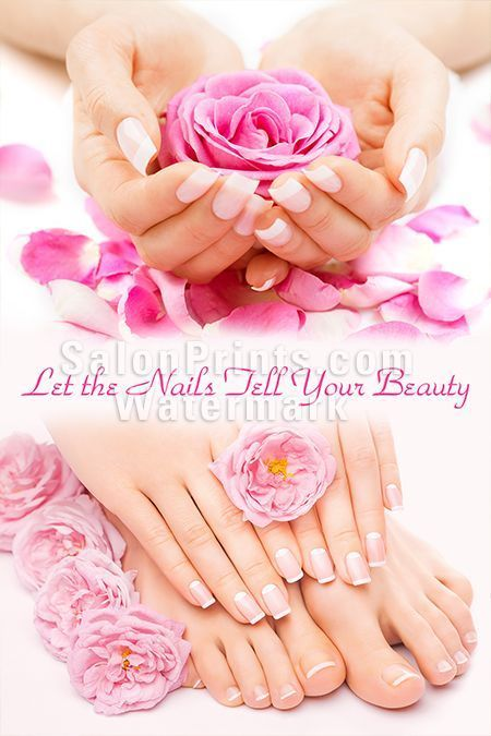 Nail Salon Poster Pink And White Manicure Pedicure P 017