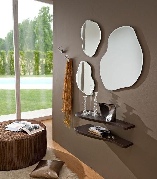 Esempio composizione con 3 specchi e mensole rovere moro
