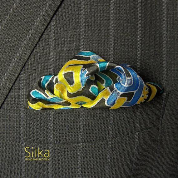 niebiesko-żółta ręcznie malowana jedwabna poszetka - Inne - Dodatki w ArsNeo