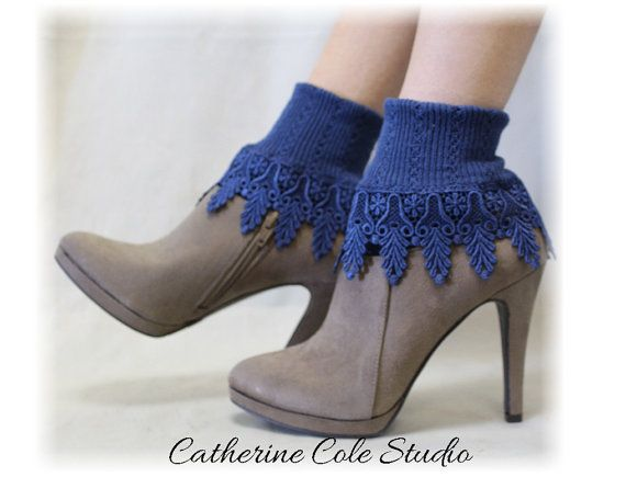 Lace Socks signature lace socks women socks lacey socks short boot socks ladies hosiery lace cuff socks Navy Catherine Cole Studio SLC2