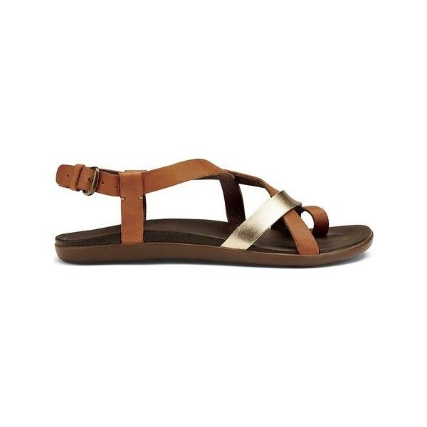 Women's OluKai Upena Quarter Strap Sandal ($90) ❤ liked on Polyvore featuring shoes, sandals, casual, casual footwear, strappy leather sandals, olukai sandals, leather thong sandals, sport sandals and thong sandals