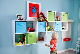 I like this idea for the boys' rooms to provide storage but not take away from floor space