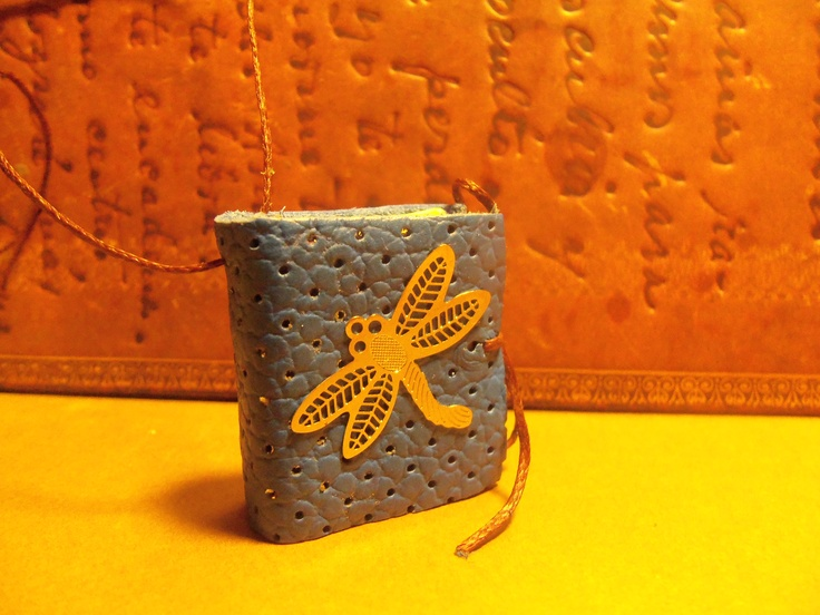 Dragonfly mini leather book pendant. For orders contact: https://www.facebook.com/pages/Handmade-Leather-Mini-Book-Pendants/358614830881759