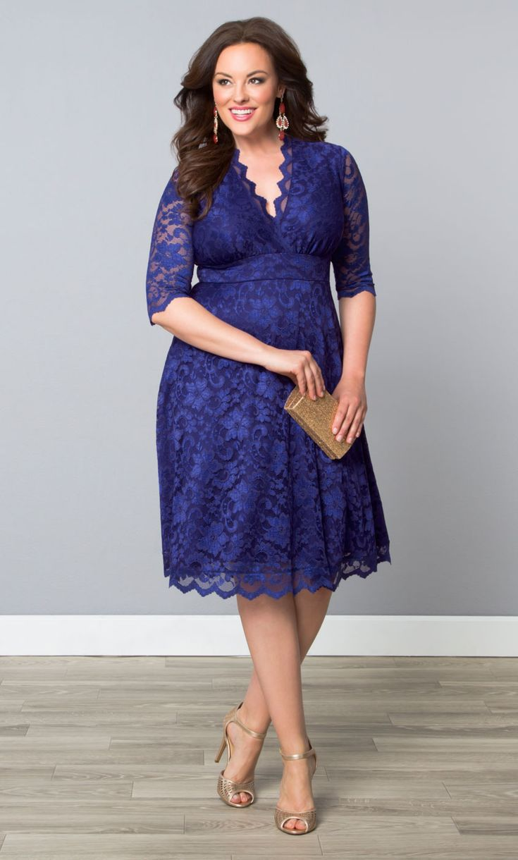 Forget the LBD; for your next special occasion opt for a gorgeous cobalt blue dress, like our plus size Mademoiselle Lace Dress.  Scalloped lace hemlines and an A-line skirt will make you want to play dress up every day.  Find more color options at www.kiyonna.com.  #KiyonnaPlusYou  #MadeintheUSA