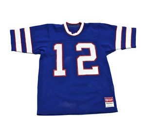 Vintage 80s Sand Knit Buffalo Bills Jim Kelly 12 NFL Jersey Made in USA Small