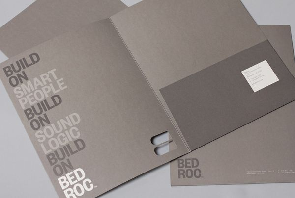 Logotype and folder with die cut detail for technological consultancy firm Bed Roc designed by Perky Bros.