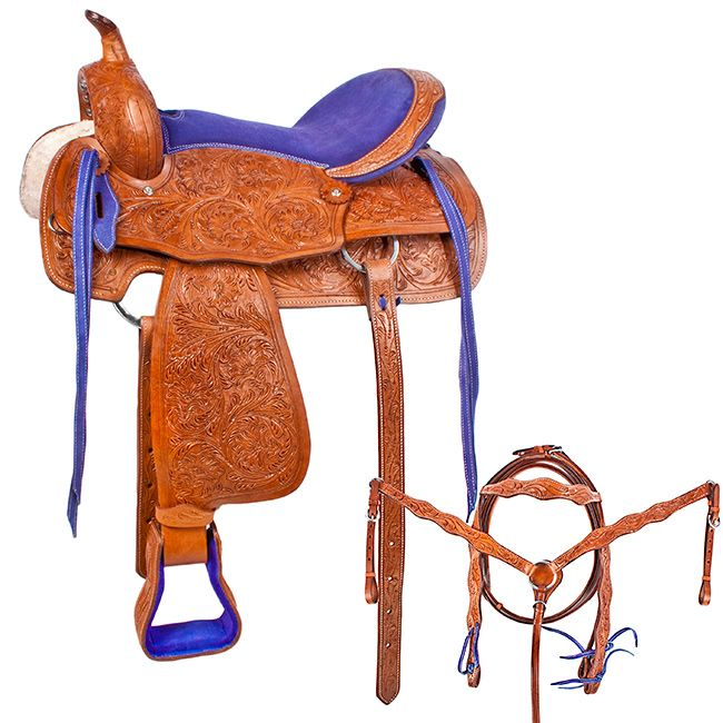 Nice tooled saddle with blue seat :)