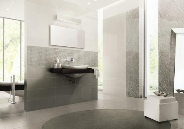 Mosaique et carrelage blanc brillant mettent en sc ne une salle de bain de charme saint maclou - Carrelage blanc brillant salle de bain ...