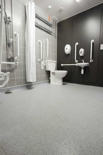 Altro Marine Flooring - great non slip flooring for the entire bathroom including the barrier free shower.