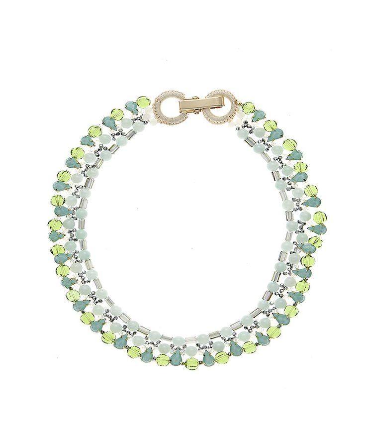 #Collana con doppio giro di perline color acqua marina