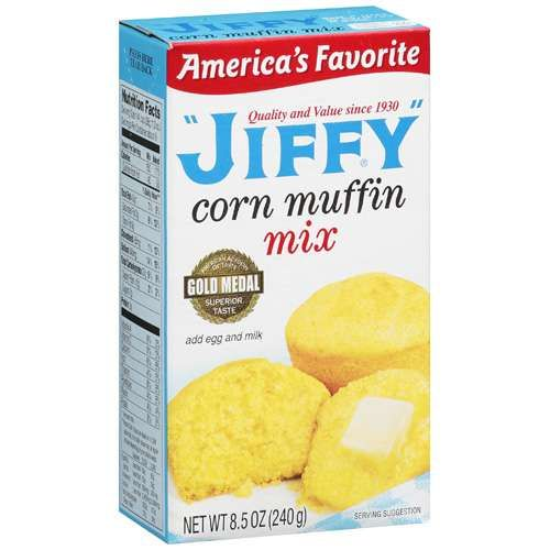 Jiffy Cornbread Mix - VERDICT:   Make cornbread as directed on box. Add a small can of diced chiles, a handful of grated cheddar cheese and a half cup of frozen corn, thawed. Cook as directed. Really moist and yummy.  KEEPER