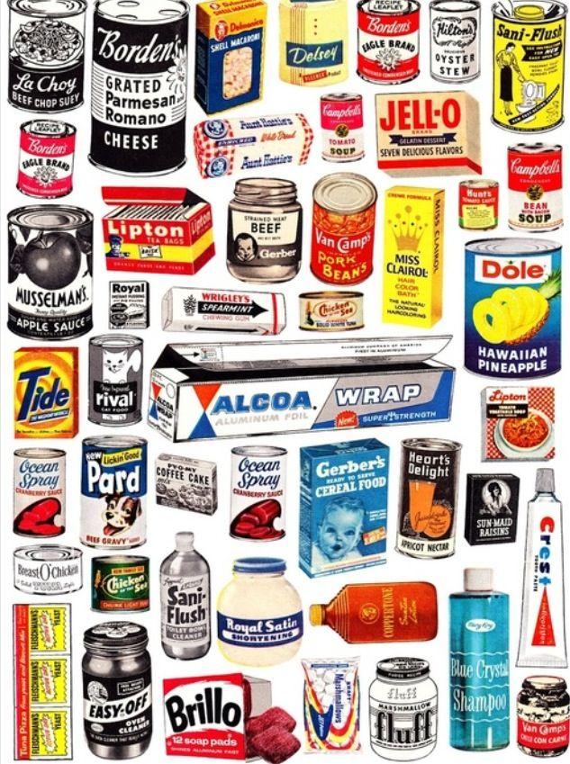 Groceries from 1950 #vintage #food #brands #packaging #50s