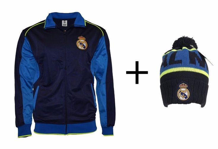 Real Madrid Jacket Adult track zip up hoodie blue + Beanie Pom Set 2 items #Rhinox #RealMadrid