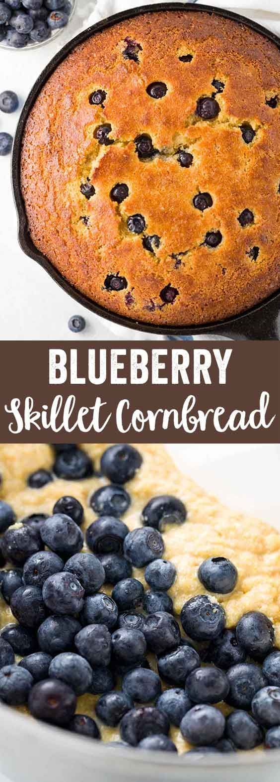 Cast iron skillet cornbread with blueberries and baked until golden brown. Whole wheat quick bread cooks in a pan for crisp edges, but with a moist cake center.  via @foodiegavin