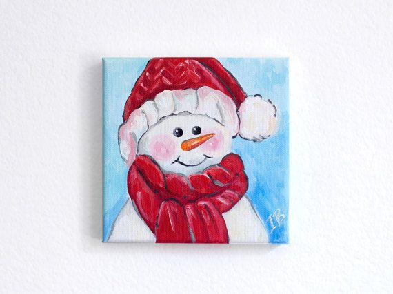 Cute christmas painting Snowman acrylic painting Canvas by Juissip