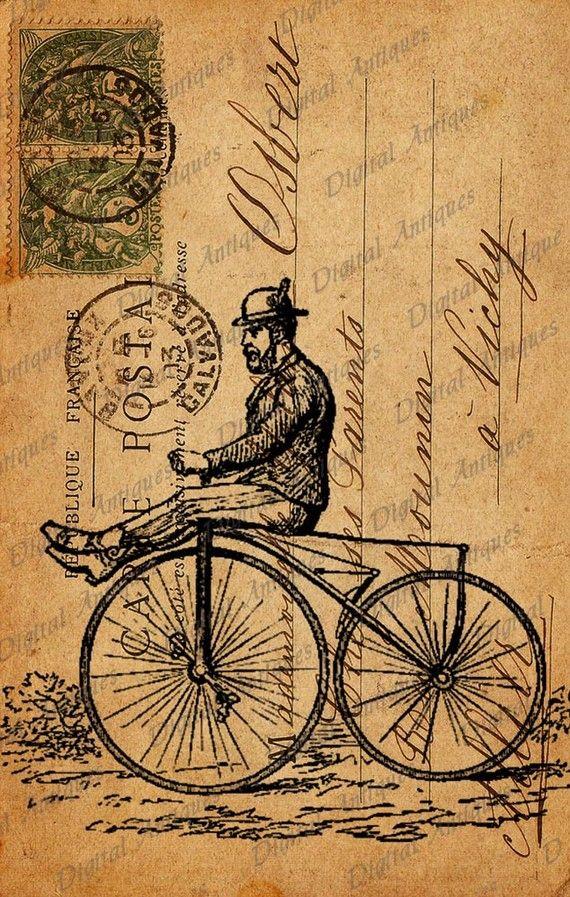 Bicicleta Vintage postales Sepia imagen Collage por DigitalAntiques