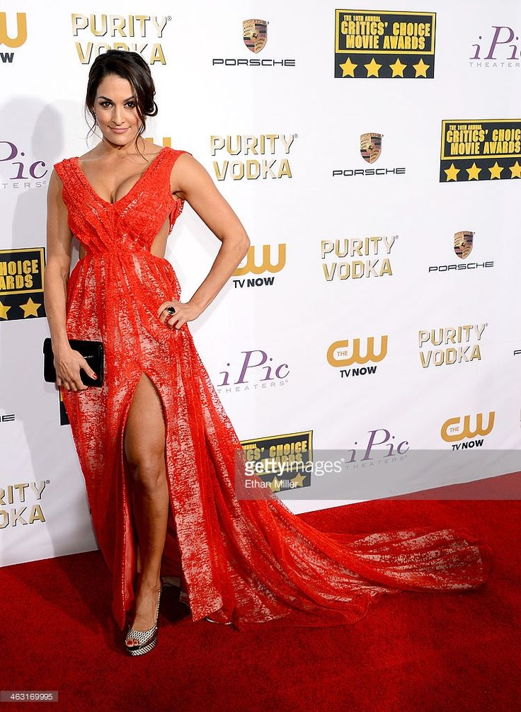 WWE wrestler Nikki Bella attends the 19th Annual Critics' Choice Movie Awards at Barker Hangar on January 16, 2014 in Santa Monica, California.