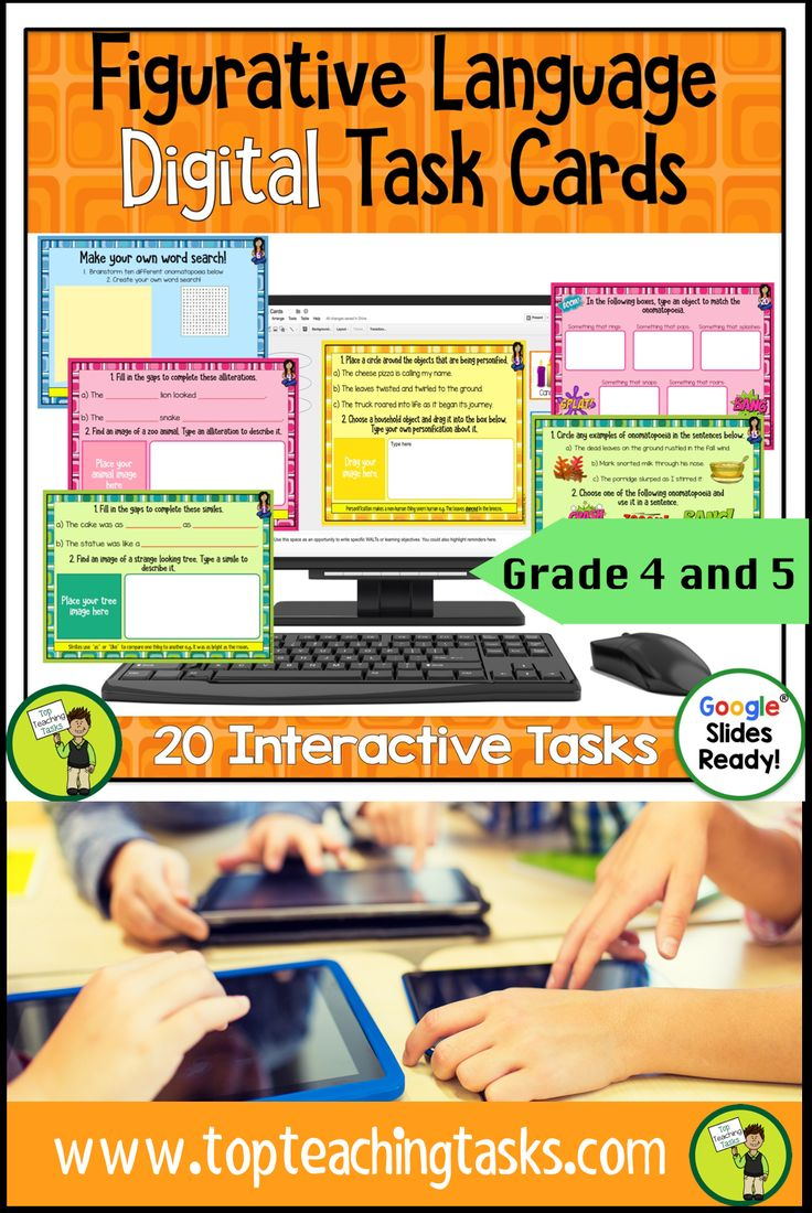 Figurative Language Digital Task Cards. Go paperless with our Google Slides-ready figurative language writing resource! 20 interactive slides for students to work through. Educational Technology. Mobile Learning. Google Resource. Digital Classroom.  They are great for early finishers, bell ringer activities, or homework. Figurative Language includes Similes, Metaphors, Alliteration, Hyperbole, Personification, Idioms, and Onomatopoeia