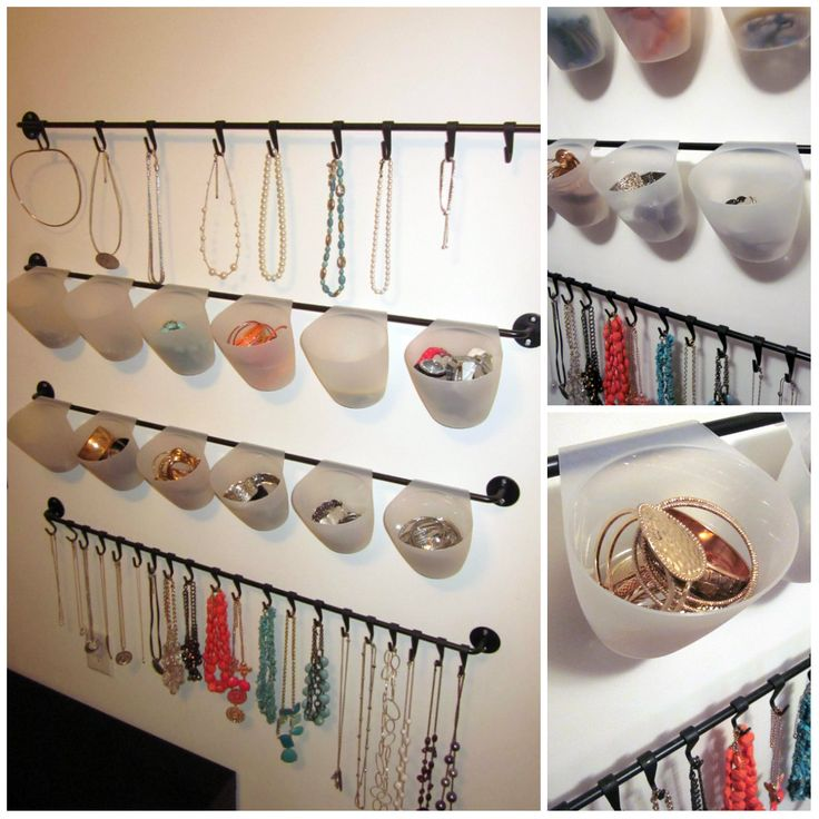 Jewelry organizer made from IKEA's BYGEL kitchen series. Easy way to display and organize jewelry! Wish we had an IKEA closer!!!