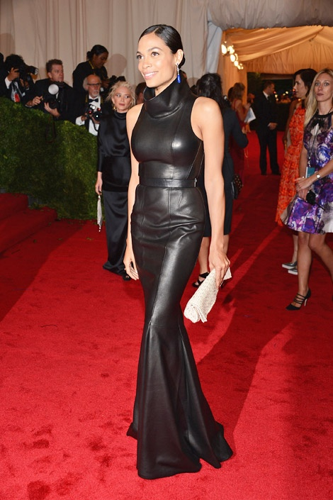 Rosario Dawson wears a Calvin Klein Collection dress and Fred Leighton jewelry.