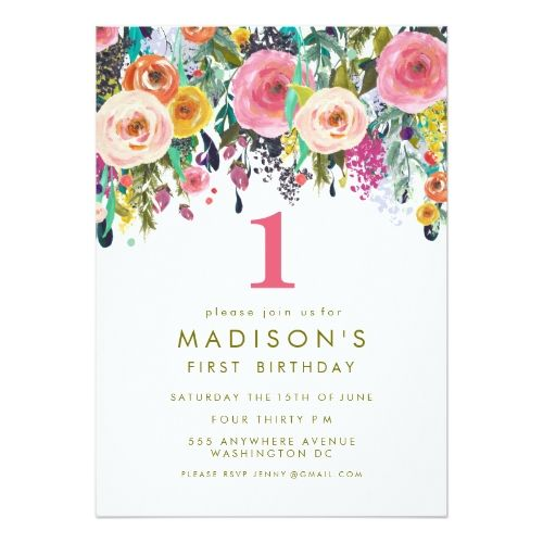 121 best girls 1st birthday party invitations images on pinterest girls 1st birthday party invitations painted floral girls 1st birthday invite stopboris Images