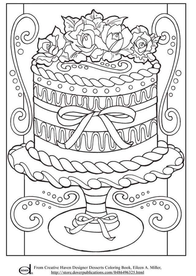 Realistic wedding Cake advanced coloring pages for grown