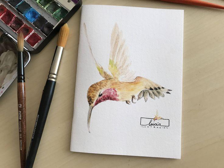 """Libreta  ilustrada """"Colibrí"""" de luciaILUSTRACION en Etsy"""