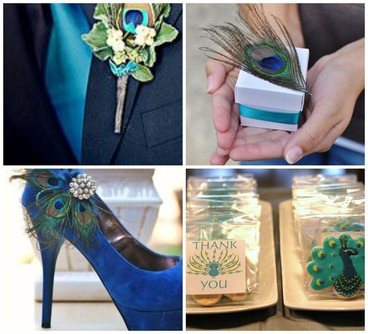Recuerdos de boda pavo real y trajes de novios