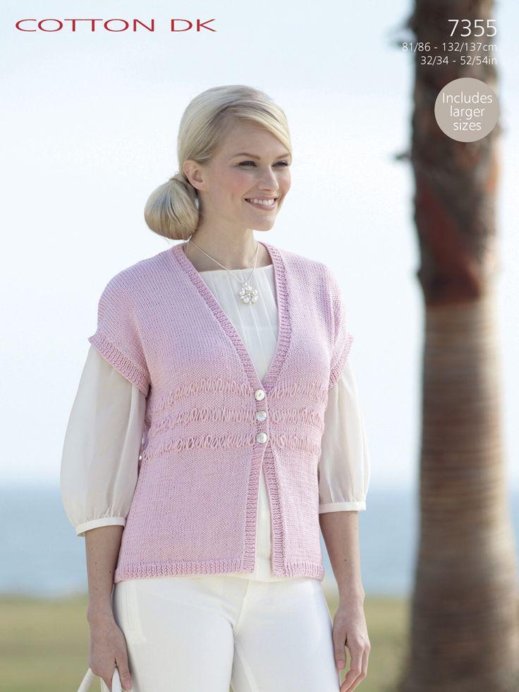 Sirdar 7355 Waistcoat/Vest in Sirdar Cotton DK (#3 Weight Yarn)