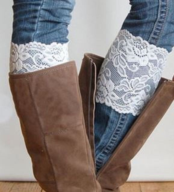 Pair of Chic Solid Color Hollow Out Lace Boot Cuffs For Women