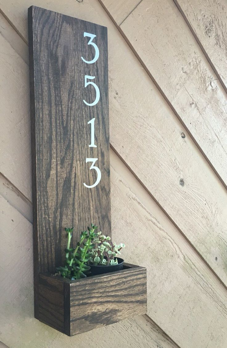 Address planter plaque handmade house number sign for Front door number plaques