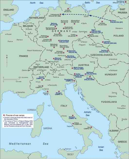 Map Of Germany And Italy.Map Of Europe Indicating German And Italian Prison Camps In Italy