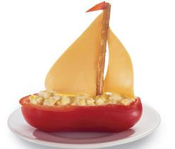 Red pepper and egg salad or tuna salad boats--delicious and cute! Visit http://www.party-ideas-by-a-pro.com/pirate-party-ideas.html