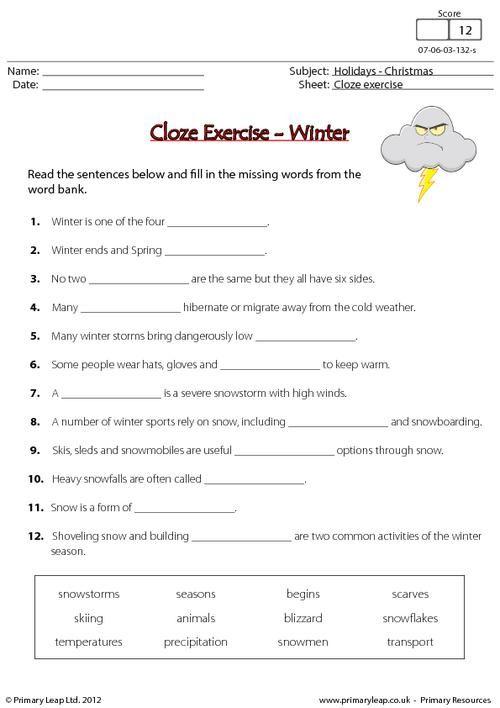 cloze exercise winter worksheet fourth grade worksheets worksheets. Black Bedroom Furniture Sets. Home Design Ideas