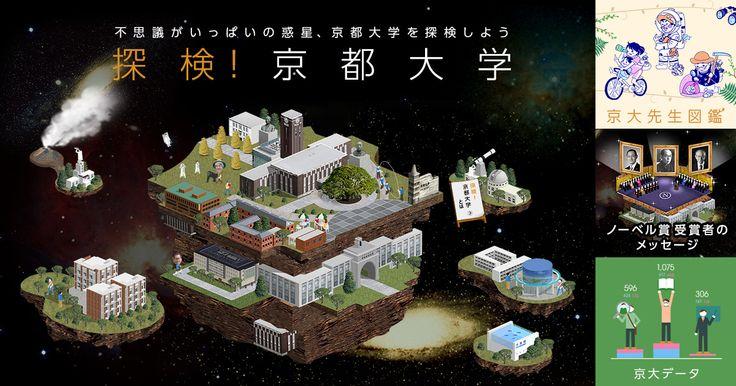 フィールドワーカーになって京大をバーチャル探検!、京大の先生の生態を紹介する図鑑、ノーベル賞受賞者のメッセージ、データで紐解く京大の特色などを紹介。