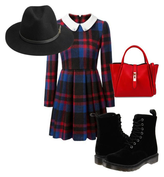 """""""School gril"""" by psugummiebear ❤ liked on Polyvore featuring Dr. Martens, Unisa and BeckSöndergaard"""