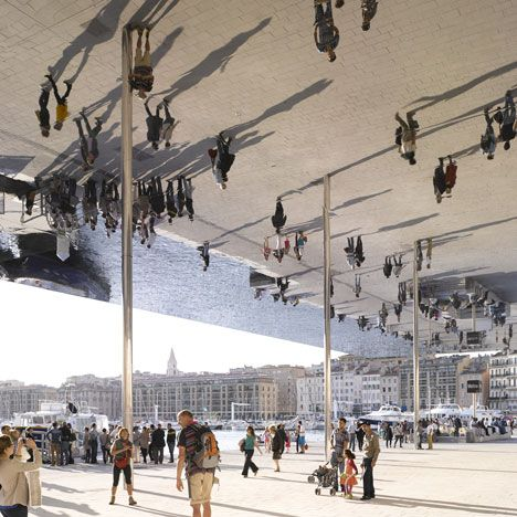 FOSTER + PARTNERS, VIEUX PORT PAVILION: polished steel mirror canopy in marseille.