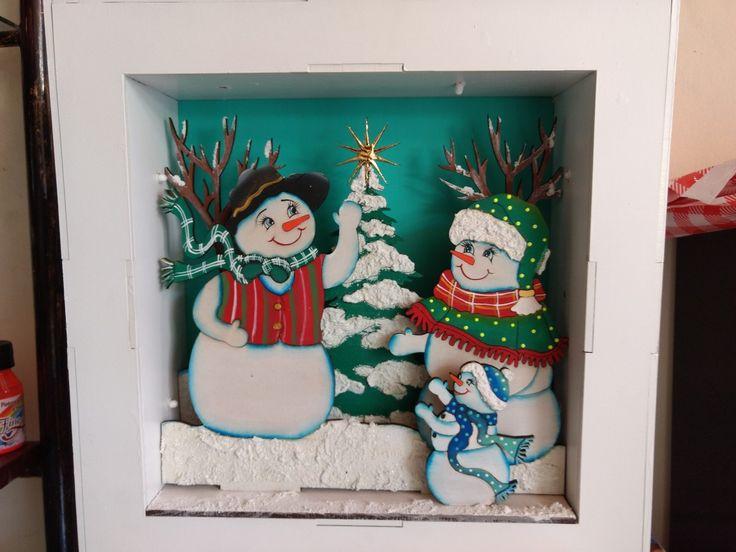 Encajonado navideño muñecos de nieve