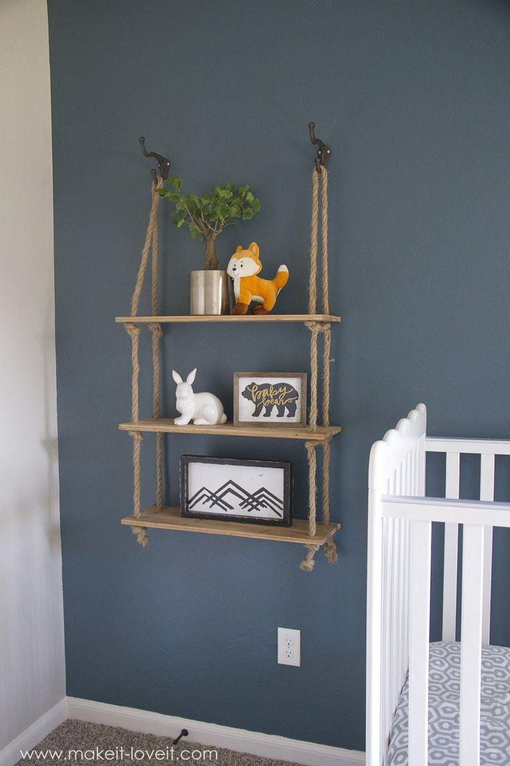 Cute rope shelf to make and a How to transfer PHOTOS onto WOOD (...for our nursery decor)!! | via www.makeit-loveit.com