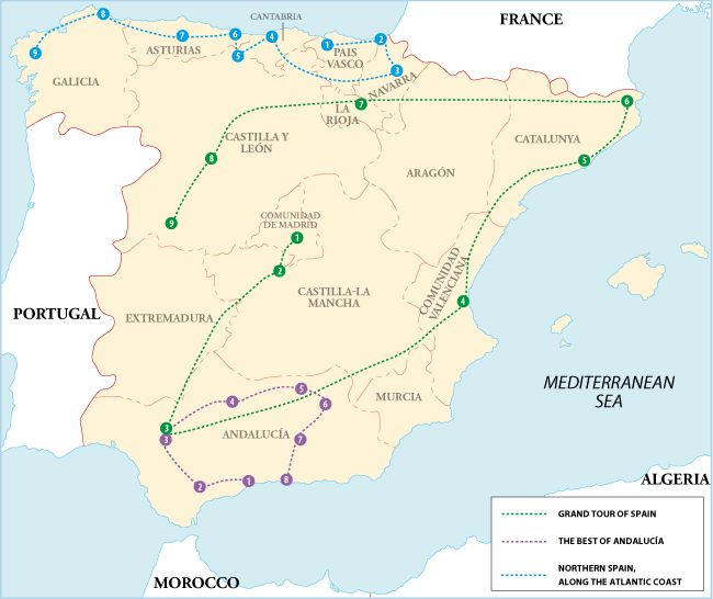 Spain itineraries-three options- I like several places on the green tour-specifically Madrid and Barcelona