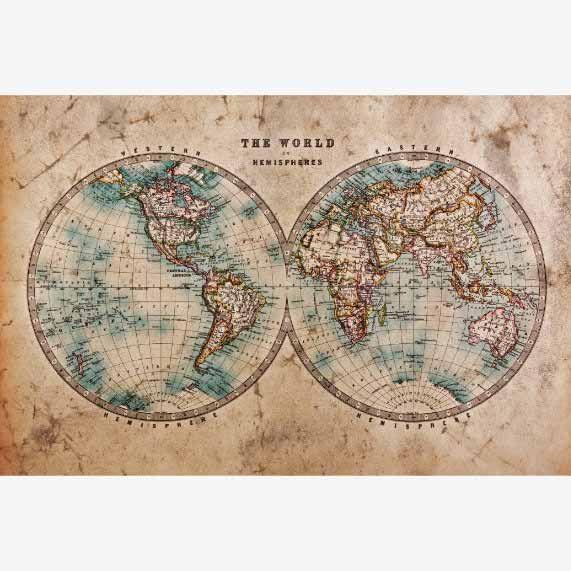 Historische wereldkaart. Antiek. Vintage. Oud. Muurdecoratie. #antiek